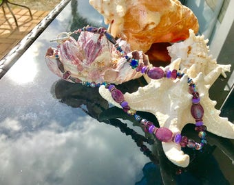 I'm Seeing Stars Purple Stone & Glass Necklace