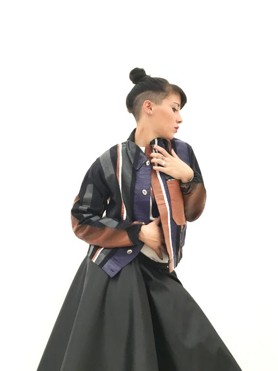Blue Jacket Hand Painted Leather Effect LOLA DARLING Colored Stripes Made in Italy from Vintage Uniform Garment. Unisex
