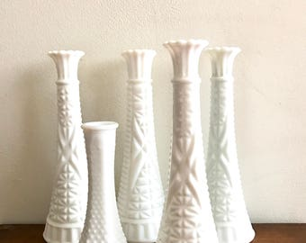 Milk Glass Vases Set of Five. Five Vintage Milk Glass Collection