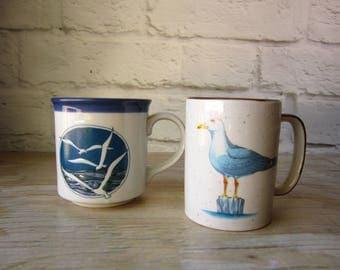 Two Vintage Seagull Mugs - Bird Mug - Beach House Decor - Cottage  Kitchen