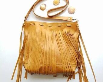 Honey hide Fringe leather cross body bag