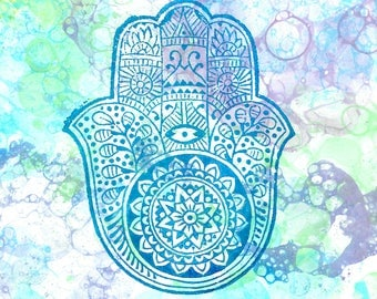 Hamsa Wood Block Print on Watercolor, Mixed Media Print, Watercolor Print, Watercolor