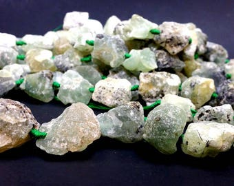 20 to 30 mm. Raw Prehnite Large Nuggets Beads Large Hole 2.5 to 3.0 mm hole - Natural Gemstone Matte Finish (G5757W38)