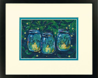 Cross Stitch Kit - BE A LIGHT - Dimensions Counted Cross Stitch Kit - Dimensions Kit - mason jar candles, fireflies cross stitch