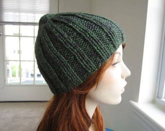 Forest Green Gray Ribbed Gender Neutral Variegated Hat, hand knit