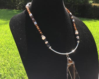 Chocolate Brown Agate Pendant Necklace