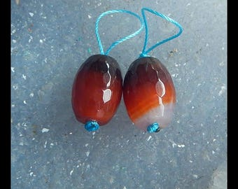 NEW, Agate Faceted Gemstone Earring Bead,16x12mm,6.8g