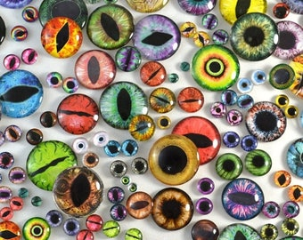 SALE Glass Eyes Overstock Wholesale Lot 100 Cabochons in Random Designs - Choose Size 6mm 8mm 10mm 16mm 25mm 30mm - Taxidermy or Jewelry Mak