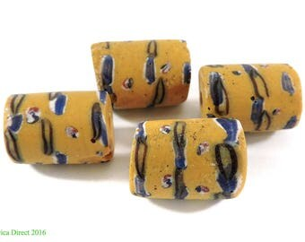 4 Yellow Venetian Trade Beads Africa Loose 109054