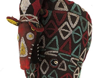 Bamileke Beaded Mask Headdress Cameroon African Art 25 Inch 111944