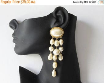 On Sale Richelieu Faux Pearl Cascade Earrings Vintage Richelieu Clip On Earrings Gift for Her