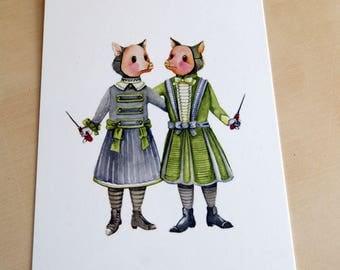 twins - watercolor illustration - postcard