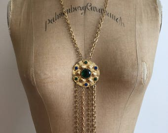 1970s Runway Rhinestone Medallion Necklace 70s