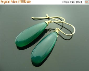 Green Onyx Smooth Drop 14K Yellow Solid Gold Earrings