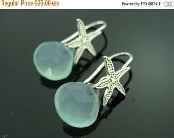 Aqua Chalcedony Sterling Silver Starfish Beach Earrings