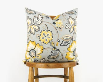 Botanical outdoor pillow case in sunny yellow, grey, mint, taupe & white | 18x18 floral cushion cover | Patio and Garden decor