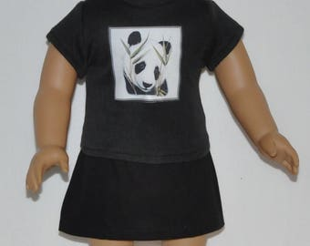 Cute Black Panda Skirt Set Doll Clothes Made To Fit 18 Inch American Girl Dolls