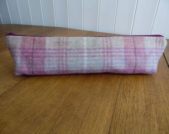 Tweed plaid tartan check knitting needle bag pouch- cherry & beige