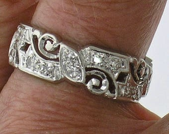 DIAMOND Wedding Band-VINTAGE Wedding Band-WIDE Platinum Diamond Wedding Band, Circa 1920