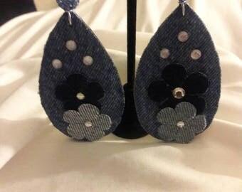 Natural Denim Diamond Fabric Earrings