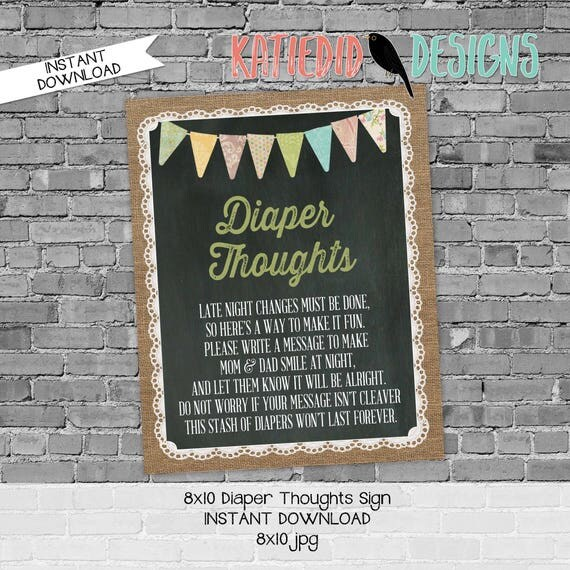 Diaper sign baby shower game 8x10 diaper thoughts advice burlap lace sprinkle tribal rustic chic printable 1431 country western shabby