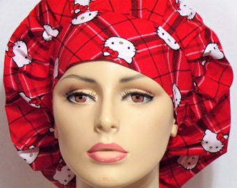 Medical Bouffant Scrub Hat - Hello Kittty Plaid Diamonds All Over with a Matching Headband Scrub Hat -Womens Scrub Hat- Hello Kitty