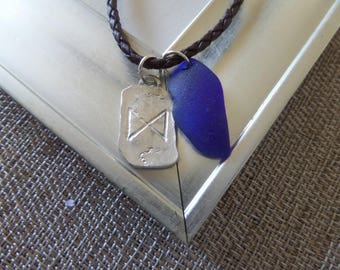 Viking Rune Men's Necklace With Blue Scottish Sea Glass Unisex Brown Leather Cord, Wisdom, Graduation Gift, New Grad