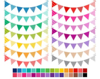 Colored Bunting Clip Art, Rainbow Bunting Flags Clipart, Banner Flags Rainbow Clipart, Commercial Use, Instant Download