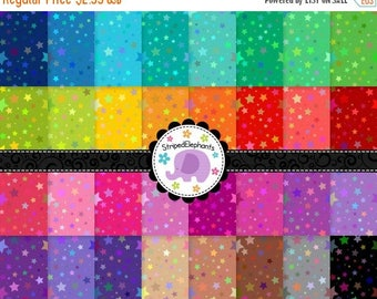 40% OFF SALE Galaxy Star Digital Papers, stary digital scrapbook papers, star digital backgrounds, Instant Download, Commercial Use
