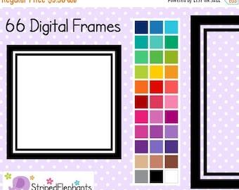 40% OFF SALE Line Square Digital Frames 1 - Clip Art Borders - Instant Download - Commercial Use