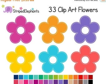 40% OFF SALE Stitched Flower Clipart - Digital Clip Art - Instant Download - Commercial Use