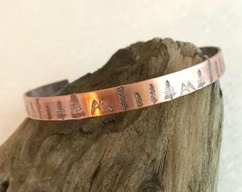 Copper Mountain Forest Stamped Bracelet, thin adjust cuff rustic mountains trees climb hiking camping adventure jewelry woman gift for her
