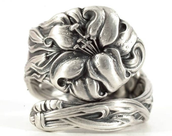 Tiger Lily Ring, Lovely Frontenac Spoon, Victorian Sterling Silver Spoon Ring, Stargazer Lily Handmade Gift for Her, Custom Ring Size (6527)
