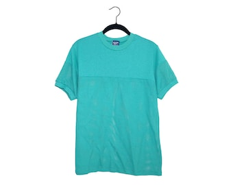 Vintage Bright Teal 1980's Indy Knit Half Mesh 50/50 Poly-Cotton Blend T-Shirt, Made in USA - Large