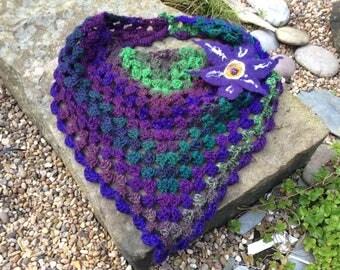Crochet Granny Triangle Boho Shawl with Hand Felted Flower Brooch