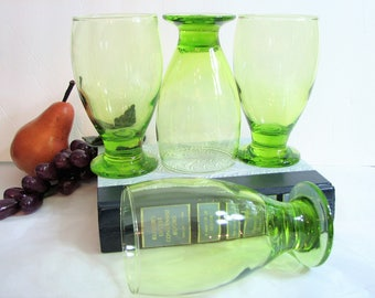 "Highball Glasses, Retro Modern Libbey Bright Green Cocktail Glasses, Footed Tumblers 5 3/8"" 12oz, Set of 4, Retro Glassware Barware"
