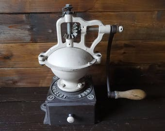Antique French Large Freres Brevetes S.G.D.G. Peugeot Coffee Grinder Mill Coffee Making Cafe Restaurant Decor circa 1900's / English Shop