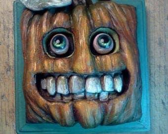 "ORIGINAL OOAK PUMPKIN ""Chad O'Lantern"" Wall Plaque by Tom Taggart"