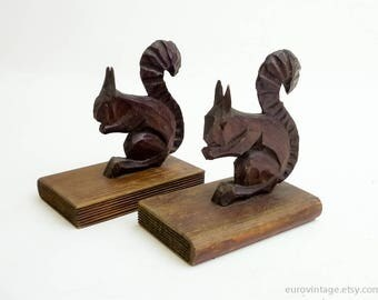 Vintage Wooden Squirrel Bookends Brown Wood Bookends 50s 60s 70s