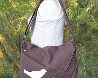 On Sale 20% off Brown cotton canvas bird messenger / shoulder bag / messenger bag / diaper bag / cross body bag