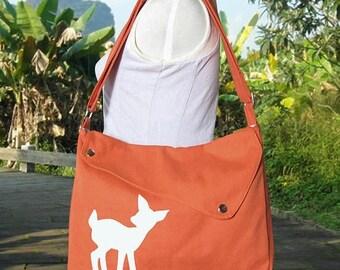 On Sale 20% off orange cotton canvas messenger bag / shoulder bag / deer messenger /diaper bag / fawn sewn