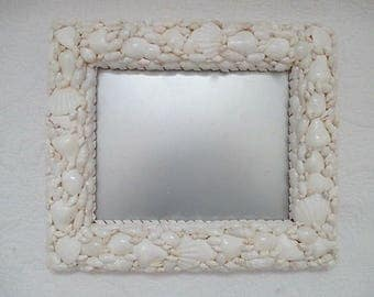 Nautical Shell Mirror, White, Stand or Hang