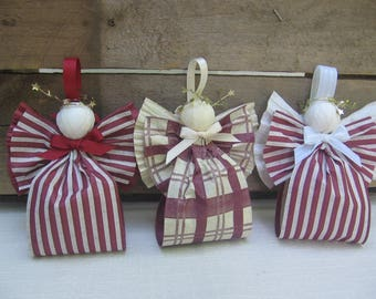 Cranberry Angel Ornament / Country Ornaments / U-Pick Pattern / Rustic Country Angel / Paper Ribbon Angel / Tree Ornaments / Tree Decor