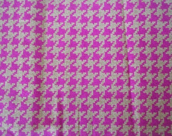 1.5 Yards Pink and Tan Houndstooth Fabric 100% Cotton Quilting = V.I.P. by Cranston Fabric Ready to Ship