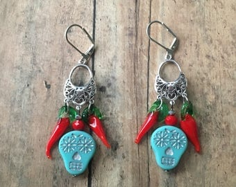 Sugar skull and pepper earrings