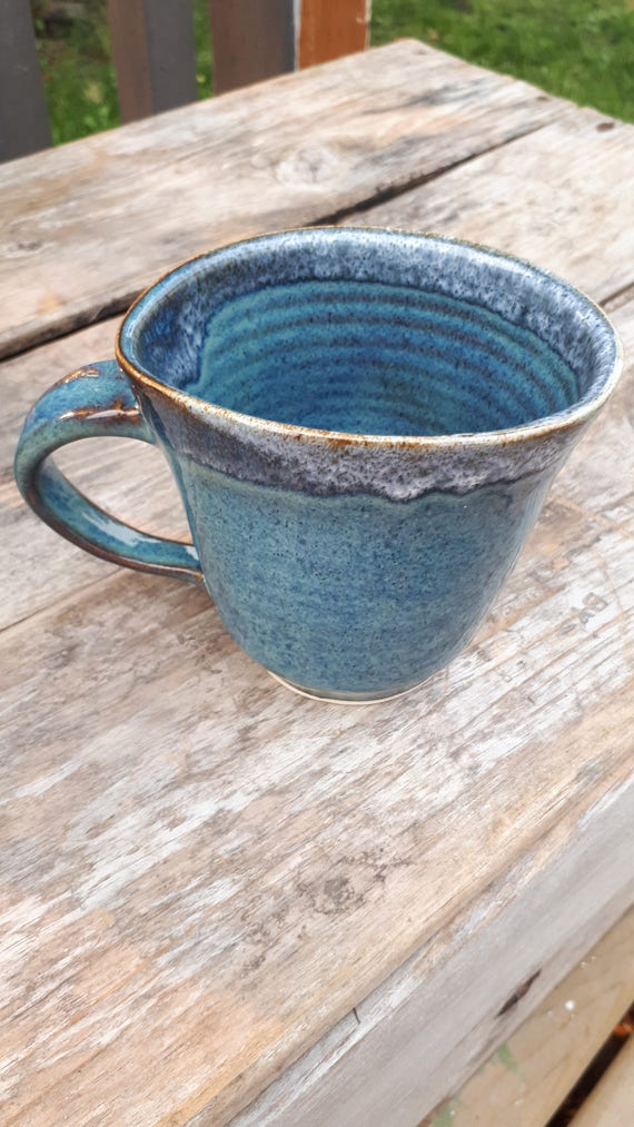 Pottery Tea Denim dark blue oval shape to fit your hand 3 inches high home decor simple tableware