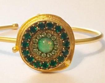 Summer SALE Gorgeous opal cuff bangle bracelet