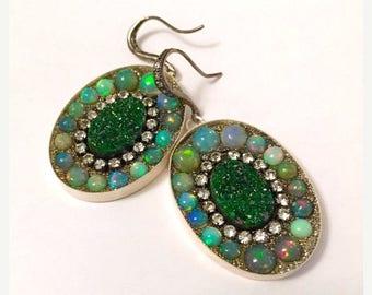 SUMMER Sale Gorgeous uvarovite and opal earrings