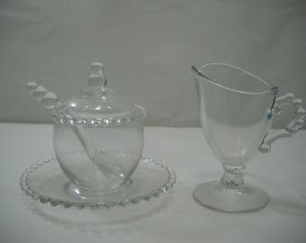 Vintage Imperial Candlewick Covered Sugar With Spoon And Creamer Glass Set FREE SHIPPING