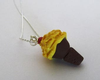 SALE Pineapple Upside Down Ice Cream Cone Polymer Clay Necklace, Chocolate Cone, Yellow and Brown, Kawaii Fake Food
